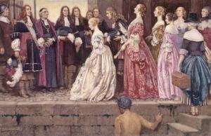 L'arrivée des Filles du Roi / Eleanor Fortescue Brickdale – avant 1927 Bibliothèque et Archives Canada – Domaine public